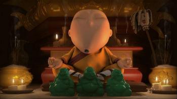 """Кадр из м.ф Айка Саакянца """"Квантовый скачок"""" (этот буддист)."""