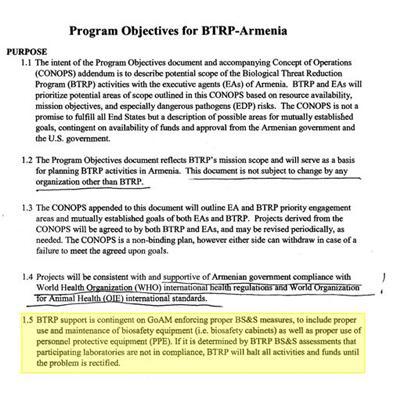 Из плана биологической деятельности США в Армении на 2020-2025 гг.