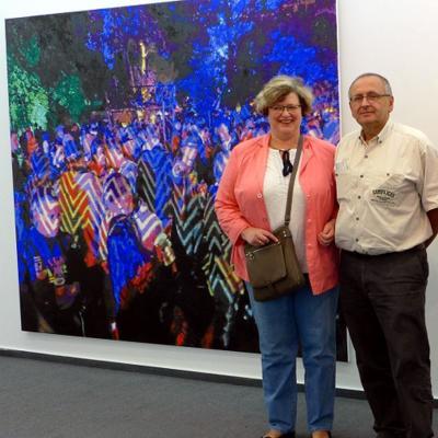 Андраник Тангян с супругой Ольгой Трифоновой-Тангян на выставке дочери Нины