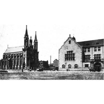 1916 год. Коммерческое училище и Костел Непорочного зачатия пресвятой Девы Марии